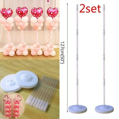2x Plastic Balloon Arch Column Stand with Base Kits Wedding Birthday Party Decor](Birthday Decoration With Balloons)