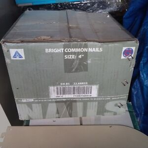 "Unopened 50 lbs Box of 4"" Bright Common Nails"