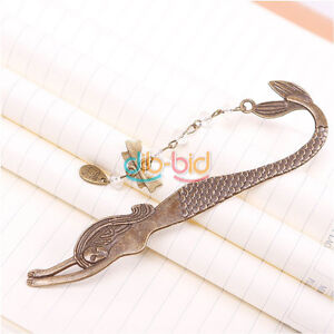 Vintage-Exquisite-Alloy-Bronze-Beads-Bowknot-Pattern-Carved-Mermaid-Bookmark-KZU