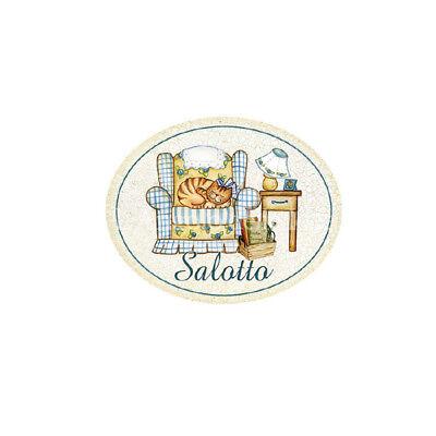 Targa legno Ovale SALOTTO Gatto country style idea regalo Poltrona made in italy
