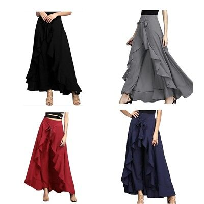 Women Casual Floral Ruffle Pants High Waist Wide Leg Loose Palazzo Trouser Skirt - Floral Wide Leg Trouser