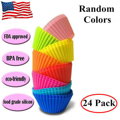 Silicone Cupcake Liners 24 Pack Baking Cups Mixed Colors Reusable And Non-Stick  - Colored Cupcake Liners