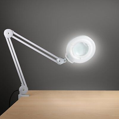 Desk Clamp Magnifying Lamp Workbench Light 5 Diopter Magnifier Swivel Swing -