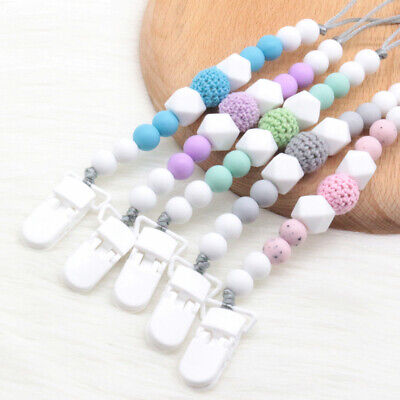 Baby Pacifier Clip Silicone Bead Dummy Soother Chain Holder Shower Gift BPA Free