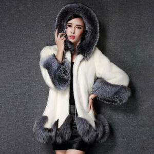 Ladies Fashion High Quality Hooded Faux Fur Coat  NEW!! 2 sizes