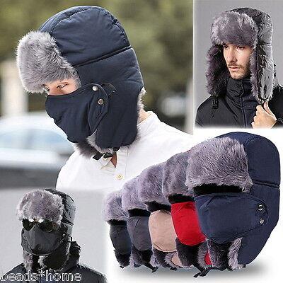 Hat Earflap Cap (Mens Womens Winter Trooper Trapper Warm Hat Ushanka Ear Flap Windproof Mask Cap)