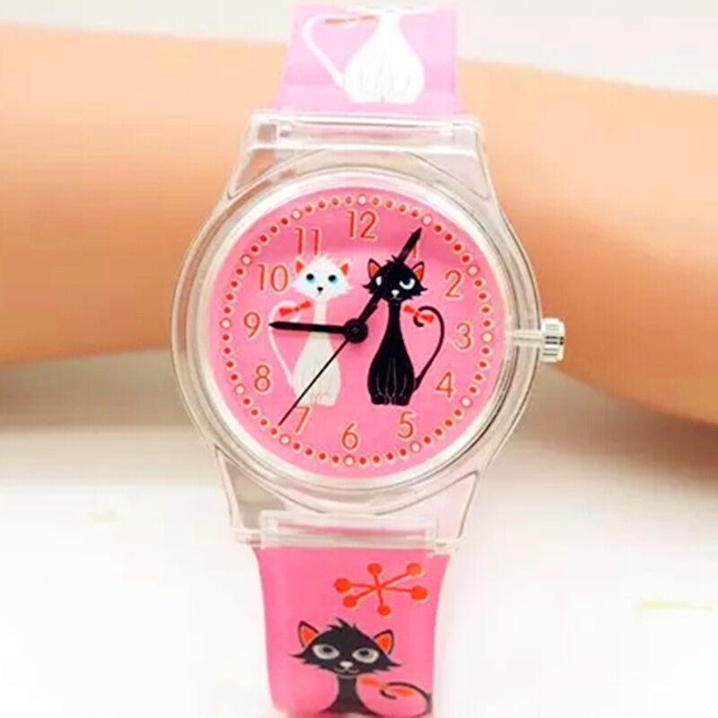 Fashion Girls Watch Lovely Kitty Pink Children Watches Cat Design Gift For Kids