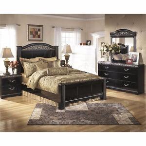 Queen Size Glossy Modern Bedroom Set +Side table +Mirror Dresser