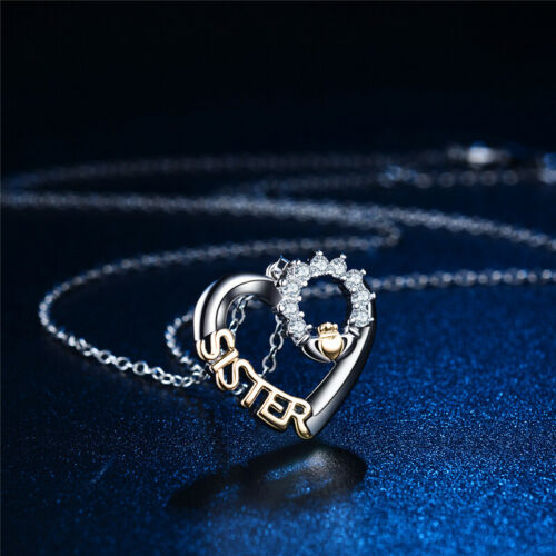 Womens Heart Zircon Necklace Pendent Birthday Christmas Gift