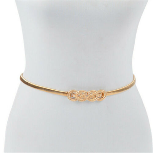 Women Gold Silver Elastic Metal Waistband Fashion Belt Buckle Hip Waist Plus