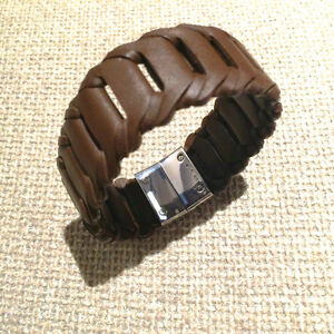 EMPORIO ARMANI Men's, leather & sterling silver bracelet - NEW!