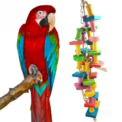 Wood Parrot Pet Bird Chew Hang Toys Rope Cave Ladder Chew Toy Puppy Supply Hot