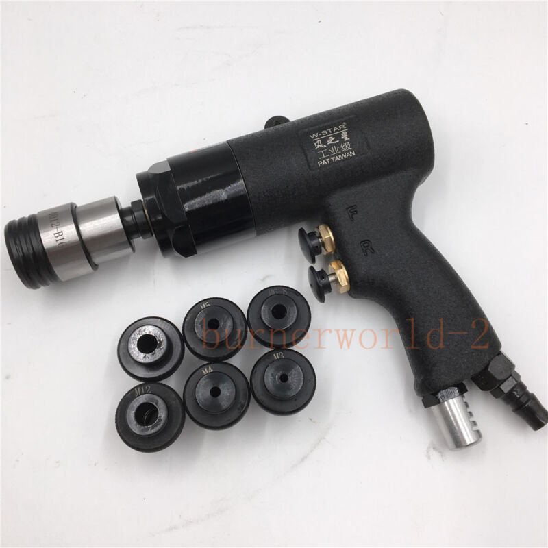 400rpm Pneumatic Tapping Machine Portable Air Drill Tapper Tool + 6pc Chuck Set