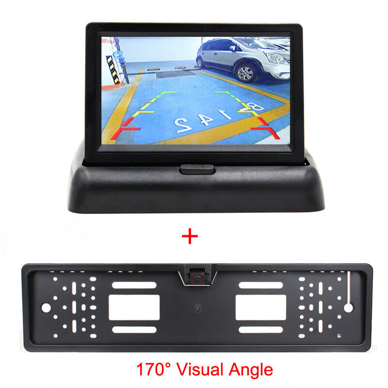 "License Plate Rear View Reversing CCD Camera 4.3/"" LCD Screen Display Monitor"