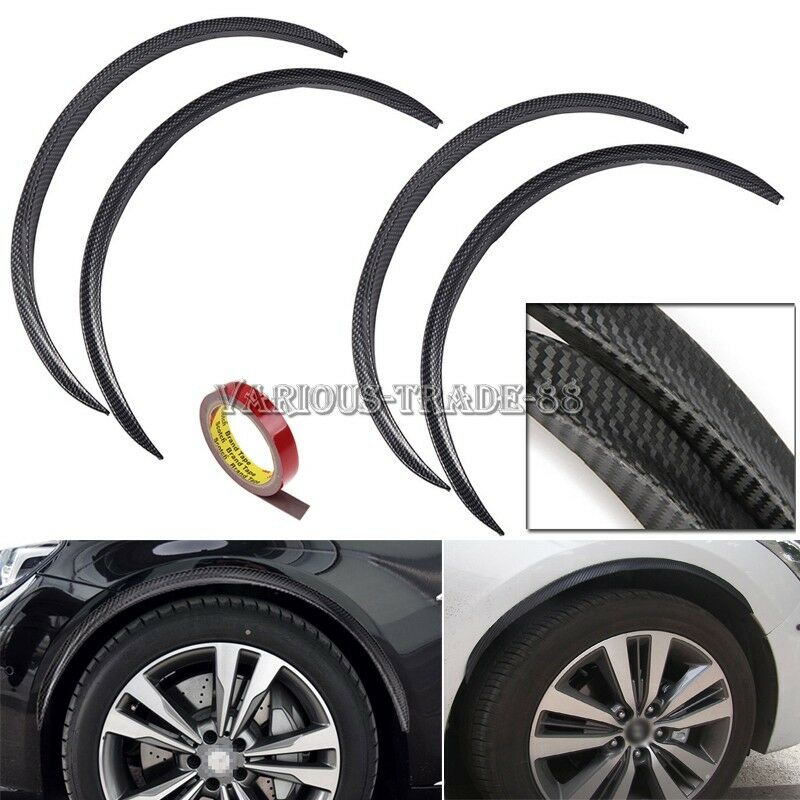 4x72cm Carbon Fiber Car Wheel Eyebrow Protector Decor Arch Trim Flare Fender Lip