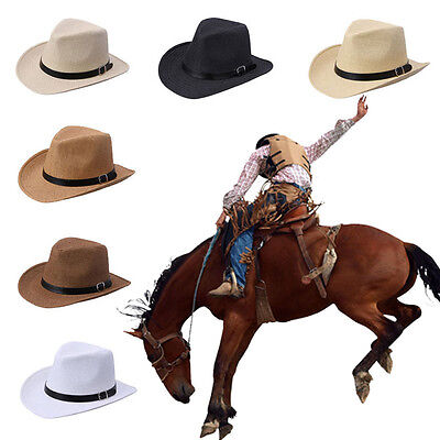 Summer Casual Mens Straw Hat Used Outdoors&Daily Cowboy Style Hats 6 Colors