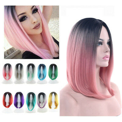 1x Heat Resistant Synthetic Ombre Wigs Long Straight Bob Black&Pink Purple Wigs - Pink Bob