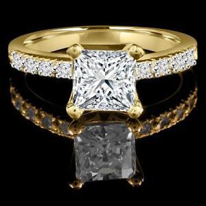 Bague de fiançailles en diamants et or jaune 1.70CTW Diamond engagemet ring
