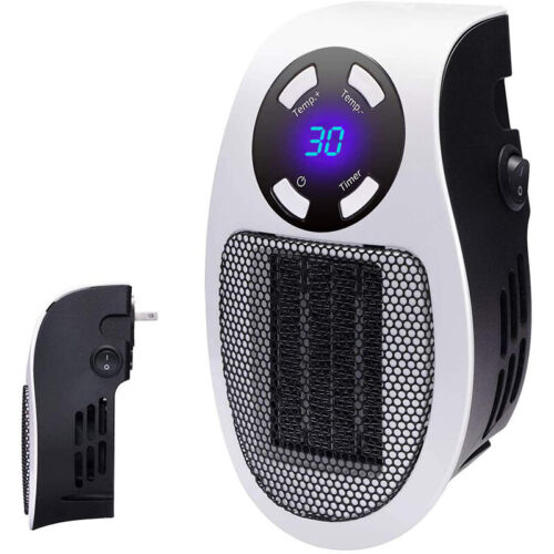 Portable Ceramic Mini Heater Wall Outlet Plug In Space Heater 500W Timer Digital