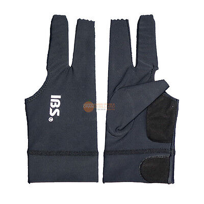 2pcs[IBS] Billiards Three Fingers Glove Professional  Spandex Snooker Pool Black