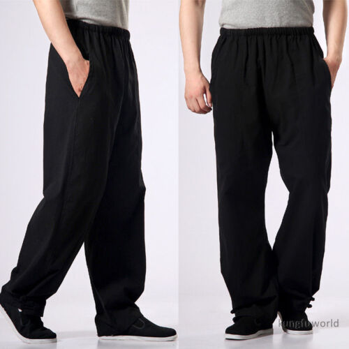 Black Cotton Casual Kung fu Tai chi Pants Martial arts Suit Wing Chun Trousers