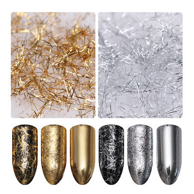 (Nail Art Glitter Strip Metal Wire Line Mirror Effect Flakes 3D Nail Decoration)