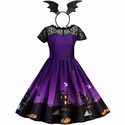 Vampire Princess Halloween Costume (Little Girls Halloween Witch Costume Lace Vampire Pumpkin Princess Party)