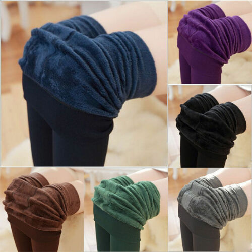 Leggings - US Women's Solid Winter Thick Warm Fleece Lined Thermal Stretchy Leggings Pants