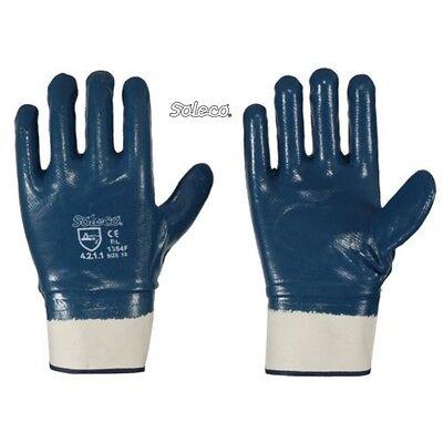 Beschichtete Arbeits-handschuhe (12  Paar  Arbeitshandschuhe Nitril blau vollbeschichtet mit Stulpe  Gr. 10  )