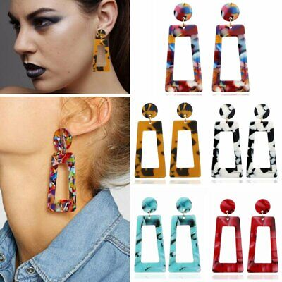 Fashion Women Bohemian Acrylic Resin Geometric Statement Drop Earrings Jewelry