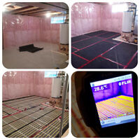 Heated Basement Floors are now affordable! $9/Sq.Ft. installed