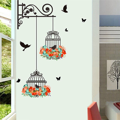 (Flower Bird Cage Removable Wall Sticker Living Room Decor Mural Art Home Decal)