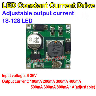 100ma-1a Constant Current Led Driver 1s-12s Adjustable Module 6-36v 200ma 300ma