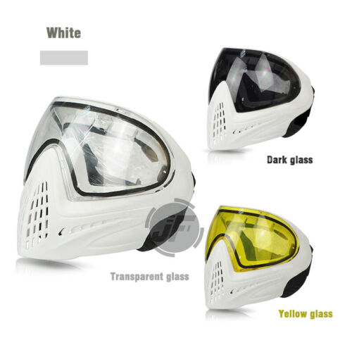 Tactical Goggles Full Mask Dual Anti-Fog Lens Adjustable Airsoft Paintball White