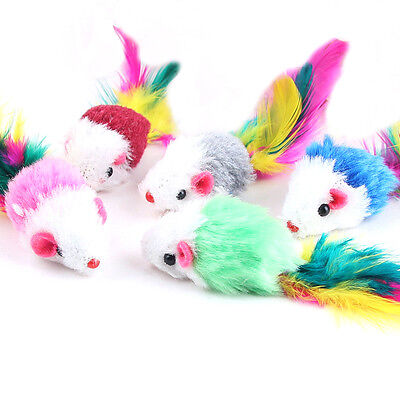 2pcs/lot Fleece False Mouse Cat Toys Colorful Feather Playing Toys For Kitten