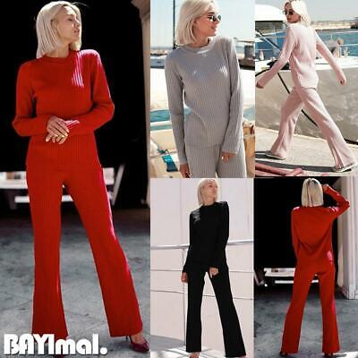 Women Plain Long Sleeve Tops Pants Set Ladies Casual Loose Tracksuit Lounge Wear
