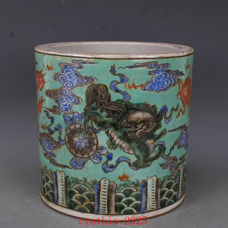 "8.3""Chinese antique Porcelain kangxi famille rose unicorn lines pen container"