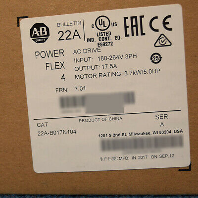 Led Allen Bradley 22a-b017n104 Ser A Powerflex 4 Ac Drive 3.7 Kw 5 Hp New Sealed