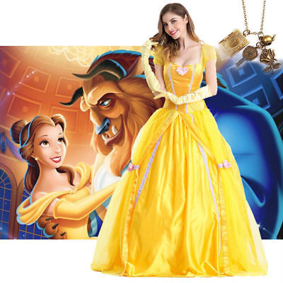 Belle Cosplay Costume Beauty and The Beast Adult Princess Fancy Dress Halloween - Belle Beauty Beast Halloween Costume Adults