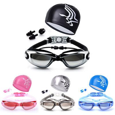 Swimming Glasses Goggles UV Protection Non-Fogging Swim Cap Nose Clip Men&WomenA