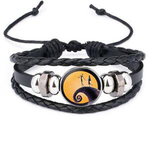 Nightmare Before Christmas Jack Skellington  Leather Adjustable Bracelet