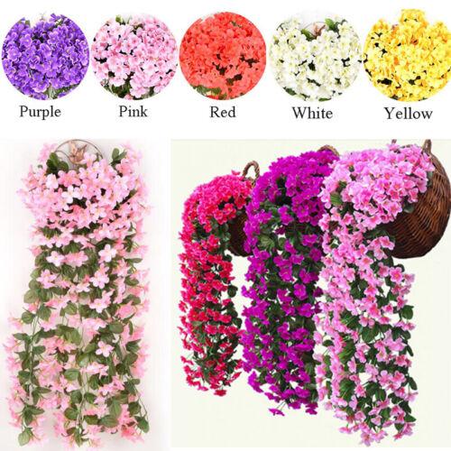 Home Decoration - Artificial Fake Hanging Flowers Vine Plant Home Garden Decor Indoor Outdoor .