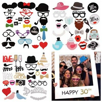 Party Photo Booth Props Baby Shower Mask Glass On A Stick Wedding Game Decor DIY - Props On Sticks
