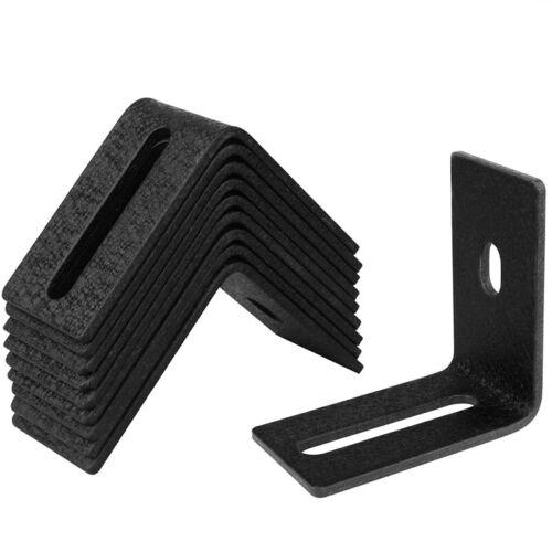 10 Packs 2¾ Inches Slotted Hole Corner Braces Adjustable Steel Bracket Black