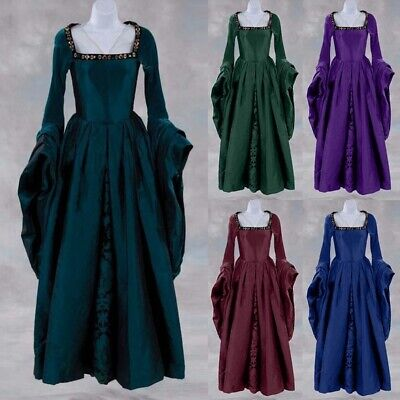 US Women Vintage Gown Dress Medieval Court Aristocratic Costume Cosplay Costume