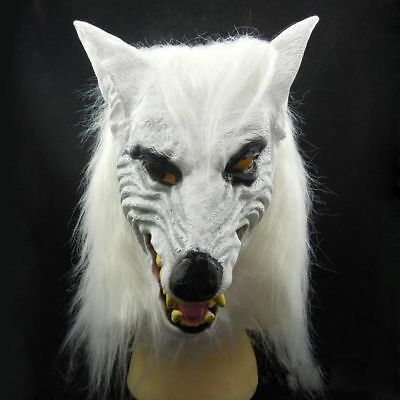 Wolf Latex Mask (Halloween Cosplay Horror White Wolf Head Mask Latex Animal Mask Theater)