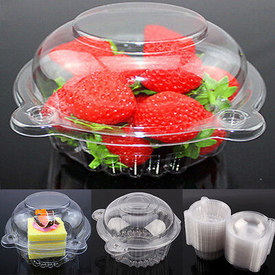 100pcs Plastic Cupcake Case Muffin Pods Dome Cups Cake Boxes Gifts Container US - Cake Box