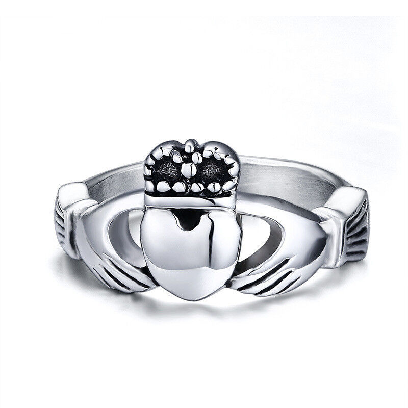 Celtic Irish Claddagh Heart Crown Promise Ring Stainless Steel Band Sizes 5-13
