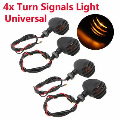 4 Pcs Matte Black Motorcycle Bullet Blinker Turn Signal Lights Indicators Lamp