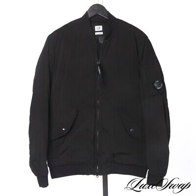 NWT CP Company Black Microfiber Goggle Ocule Pocket Flight Bomber Jacket Coat 52